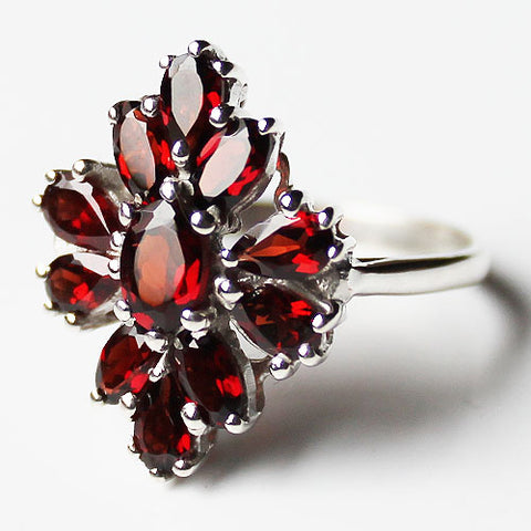 100% 925 Solid Sterling Silver Chunky Semi-Precious Red Garnet Stone Ring - Size 7 or 8 - Cherish Me Jewellery - Melbourne Australia