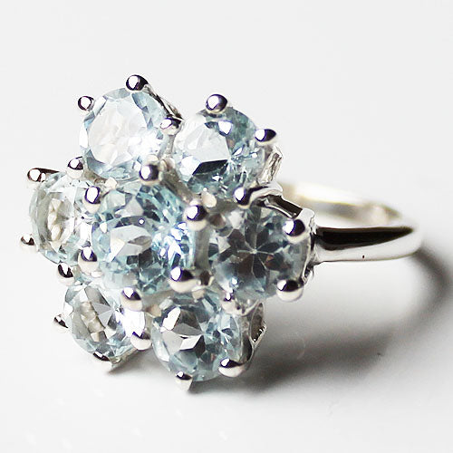 100% 925 Solid Sterling Silver Chunky Flower Design Semi-Precious Blue Topaz Stone Ring - Size 7 or 8 - Cherish Me Jewellery - Melbourne Australia