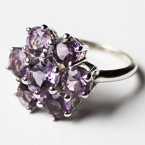 100% 925 Solid Sterling Silver Chunky Flower Design Semi-Precious Purple Amethyst Stone Ring - Size 7 or 8 - Cherish Me Jewellery - Melbourne Australia