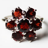 100% 925 Solid Sterling Silver Chunky Flower Design Semi-Precious Red Garnet Stone Ring - Size 7 or 8 - Cherish Me Jewellery - Melbourne Australia