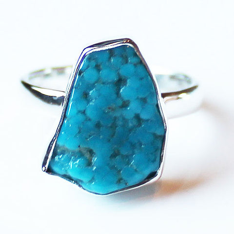 100% 925 Solid Sterling Silver Rough Cut Blue Arazona Turquoise Semi Precious Natural Stone Ring - Sizes 8 or 9 - Cherish Me Jewellery - Melbourne Australia