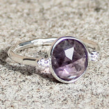 100% 925 Solid Sterling Silver Faceted Purple Amethyst Stone Ring - Size 7, 8 or 9 - Cherish Me Jewellery - Melbourne Australia