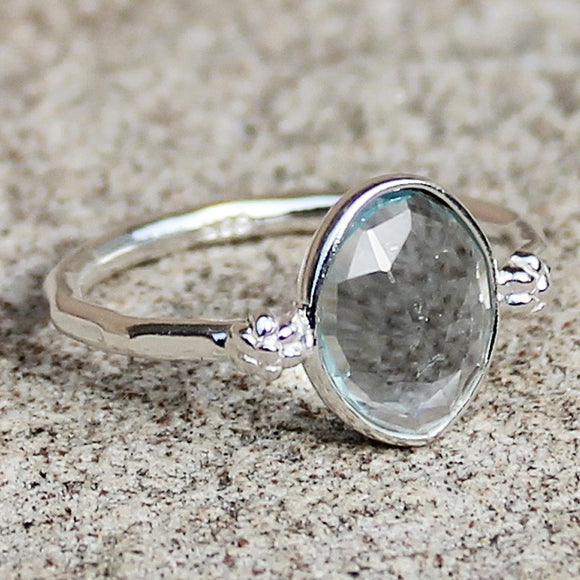 100% 925 Solid Sterling Silver D3 Faceted Blue Topaz Stone Ring - Size 7, 8 or 9 - Cherish Me Jewellery - Melbourne Australia