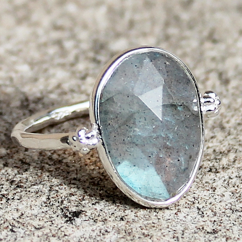 100% 925 Solid Sterling Silver D3 Faceted Labradorite Stone Ring - Size 7, 8 or 9 - Cherish Me Jewellery - Melbourne Australia