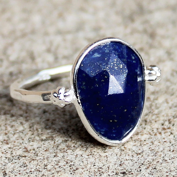100% 925 Solid Sterling Silver D3 Faceted Blue Lapis Lazuli Stone Ring - Size 7, 8 or 9 - Cherish Me Jewellery - Melbourne Australia