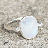100% 925 Solid Sterling Silver D3 Faceted Moonstone Stone Ring - Size 7, 8 or 9 - Cherish Me Jewellery - Melbourne Australia