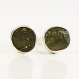 100% 925 Solid Sterling Silver Rough Cut Green Peridot Semi Precious Natural Stone Stud Earrings - Cherish Me Jewellery - Melbourne Australia