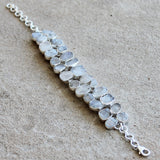100% 925 Solid Sterling Silver Rough Cut White Moonstone Semi Precious Natural Stone Bracelet - Cherish Me Jewellery - Melbourne Australia