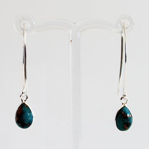 100% 925 Solid Sterling Silver Semi-Precious Blue Copper Turquoise Natural Stone Earrings - Cherish Me Jewellery - Melbourne Australia