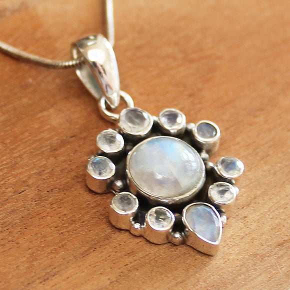 100% 925 Solid Sterling Silver Semi-Precious Moonstone Faceted Natural Stone Pendant - Cherish Me Jewellery - Melbourne Australia