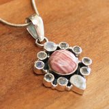 100% 925 Solid Sterling Silver Semi-Precious Pink Rhodochrosite and Faceted Moonstone Natural Stone Pendant - Cherish Me Jewellery - Melbourne Australia