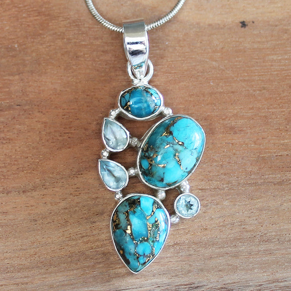 100% 925 Solid Sterling Silver Semi-Precious Blue Copper Turquoise and Blue Topaz Stone Pendant - Cherish Me Jewellery - Melbourne Australia
