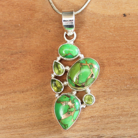 100% 925 Solid Sterling Silver Semi-Precious Green Copper Turquoise and Green Peridot Stone Pendant - Cherish Me Jewellery - Melbourne Australia