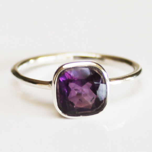 100% 925 Solid Sterling Silver Square Faceted Purple Amethyst Gemstone Ring  - Size 6, 7, 8, 9 or 10 - Cherish Me Jewellery - Melbourne Australia
