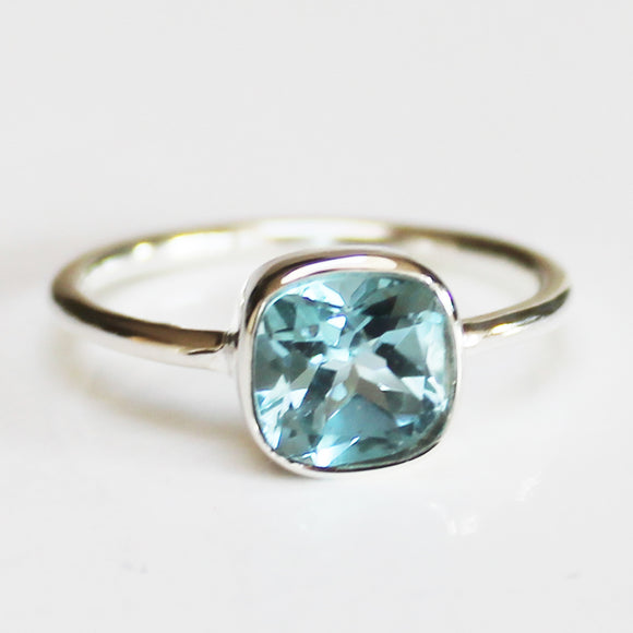 100% 925 Solid Sterling Silver Square Faceted Blue Topaz Gemstone Ring  - Size 6, 7, 8, 9 or 10 - Cherish Me Jewellery - Melbourne Australia
