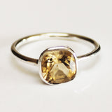 100% 925 Solid Sterling Silver Square Faceted Yellow Citrine Gemstone Ring  - Size 6, 7, 8, 9 or 10 - Cherish Me Jewellery - Melbourne Australia