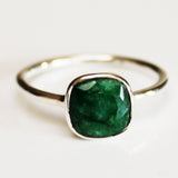 100% 925 Solid Sterling Silver Square Faceted Green Emerald Gemstone Ring  - Size 6, 7, 8, 9 or 10 - Cherish Me Jewellery - Melbourne Australia