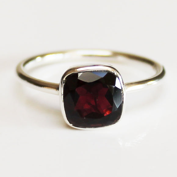 100% 925 Solid Sterling Silver Square Faceted Red Garnet Gemstone Ring  - Size 6, 7, 8, 9 or 10 - Cherish Me Jewellery - Melbourne Australia
