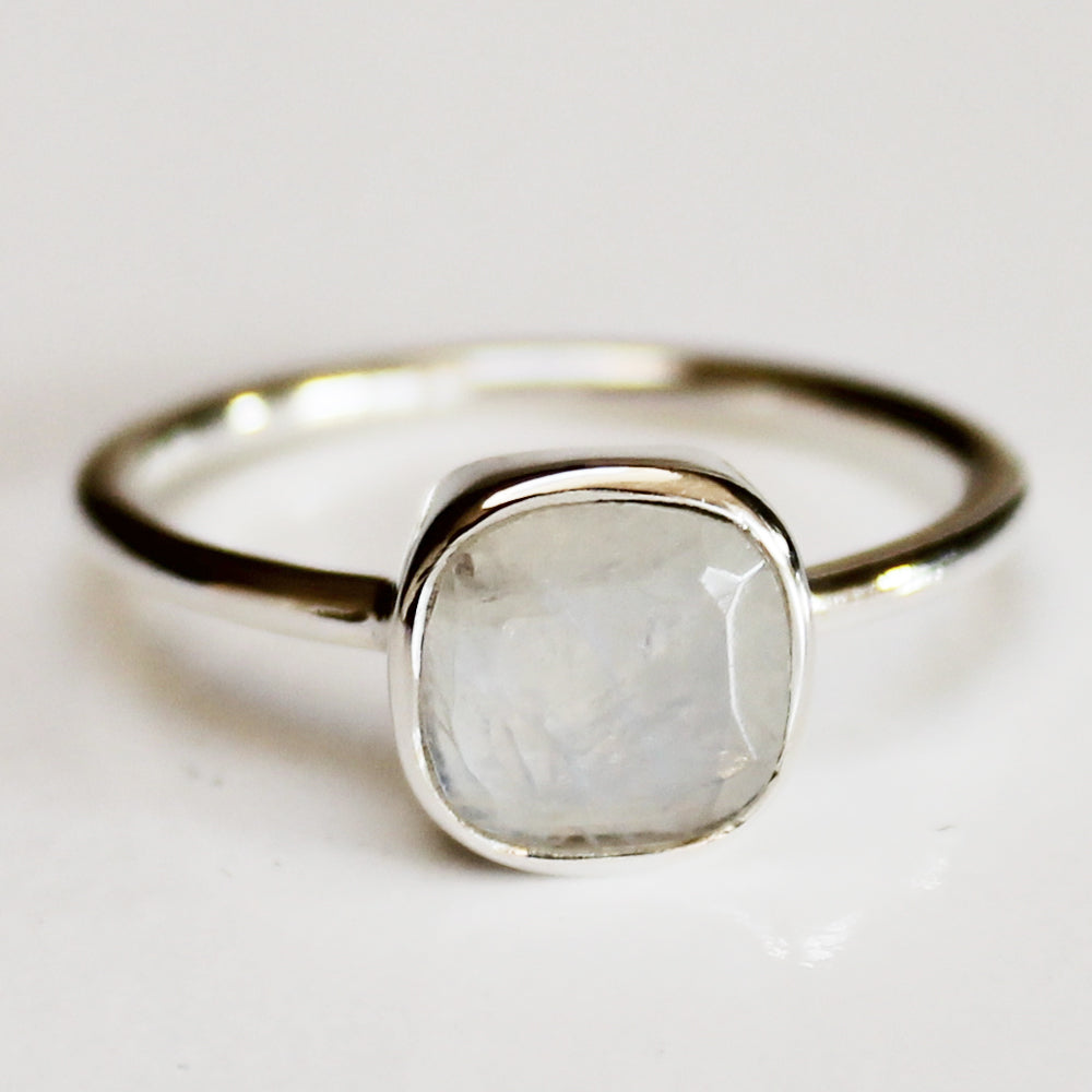 100% 925 Solid Sterling Silver Square Faceted Rainbow Moonstone Gemstone Ring  - Size 6, 7, 8, 9 or 10 - Cherish Me Jewellery - Melbourne Australia