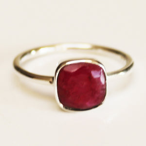 100% 925 Solid Sterling Silver Square Faceted Red Ruby Gemstone Ring  - Size 6, 7, 8, 9 or 10 - Cherish Me Jewellery - Melbourne Australia