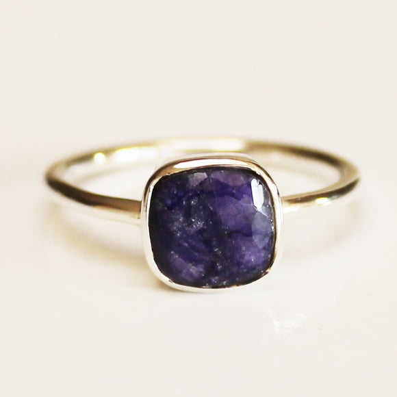 100% 925 Solid Sterling Silver Square Faceted Blue Sapphire Gemstone Ring  - Size 6, 7, 8, 9 or 10 - Cherish Me Jewellery - Melbourne Australia