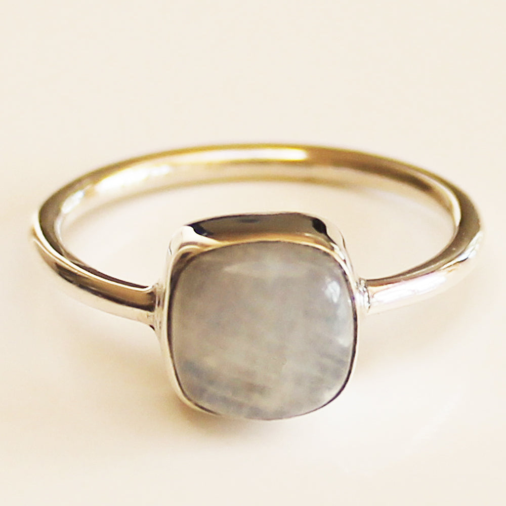 100% 925 Solid Sterling Silver Square Cabochon Rainbow Moonstone Gemstone Ring - Size 7, 8, 9 or 10 - Cherish Me Jewellery - Melbourne Australia