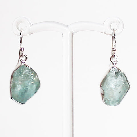100% 925 Solid Sterling Silver Rough Cut Blue Aquamarine Semi-Precious Natural Stone Drop Earrings - Cherish Me Jewellery - Melbourne Australia