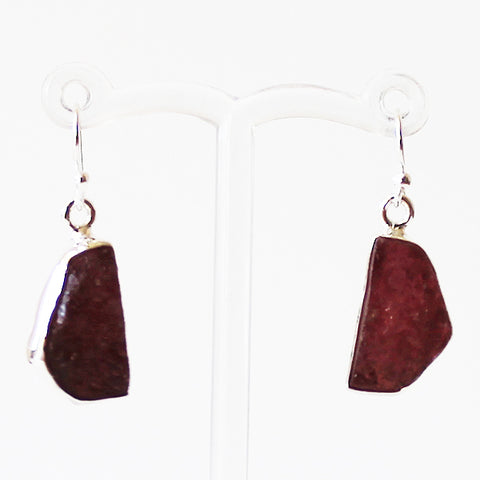 100% 925 Solid Sterling Silver Rough Cut Red Garnet Semi-Precious Natural Stone Drop Earrings - Cherish Me Jewellery - Melbourne Australia