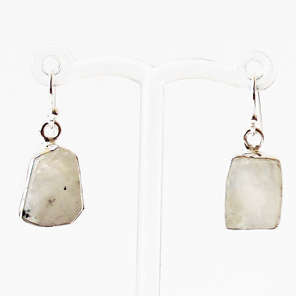 100% 925 Solid Sterling Silver Rough Cut White Moonstone Semi-Precious Natural Stone Drop Earrings - Cherish Me Jewellery - Melbourne Australia