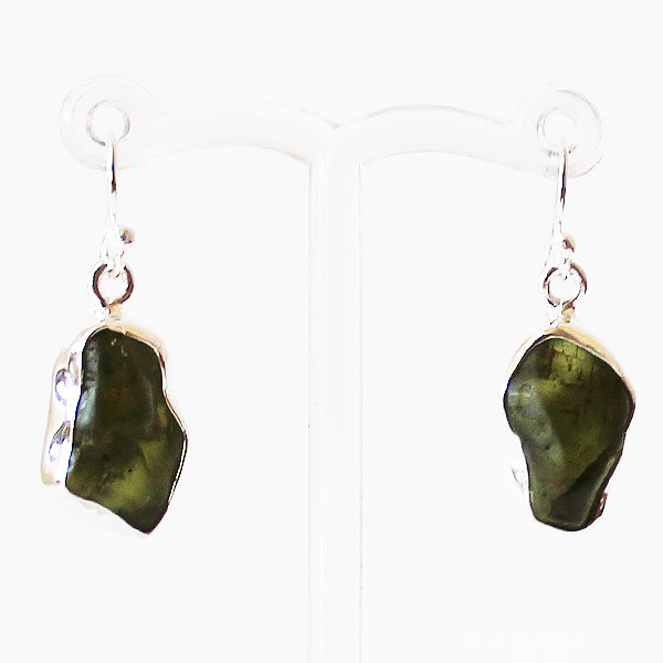 100% 925 Solid Sterling Silver Rough Cut Green Peridot Semi-Precious Natural Stone Drop Earrings - Cherish Me Jewellery - Melbourne Australia