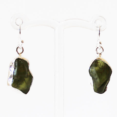 100% 925 Solid Sterling Silver Semi-Precious Rough Cut Green Peridot Stone Drop Earrings - Cherish Me Jewellery - Melbourne Australia