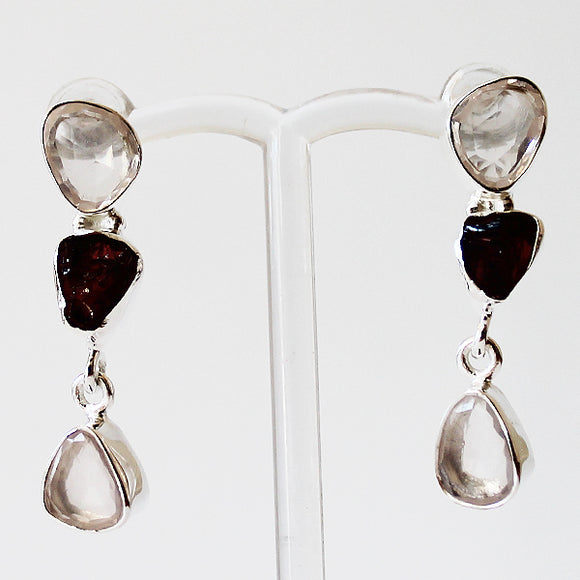 100% 925 Solid Sterling Silver Semi-Precious Pink Rose Quartz & Garnet Natural Stone Earrings - Cherish Me Jewellery - Melbourne Australia