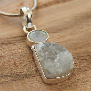 100% 925 Solid Sterling Silver Rough Cut Rainbow Moonstone Semi Precious Natural Stone Pendant - Cherish Me Jewellery - Melbourne Australia