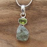 100% 925 Solid Sterling Silver Rough Cut Green Peridot Semi Precious Natural Stone Pendant - Cherish Me Jewellery - Melbourne Australia