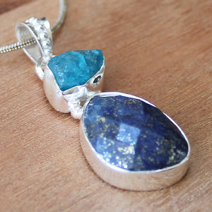 100% 925 Solid Sterling Silver Rough Cut Blue Lapis Lazuli & Apatite Semi Precious Natural Stone endant - Cherish Me Jewellery - Melbourne Australia