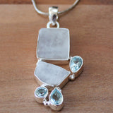100% 925 Solid Sterling Silver Rough Cut White Moonstone & Blue Topaz Semi Precious Natural Stone Pendant - Cherish Me Jewellery - Melbourne Australia