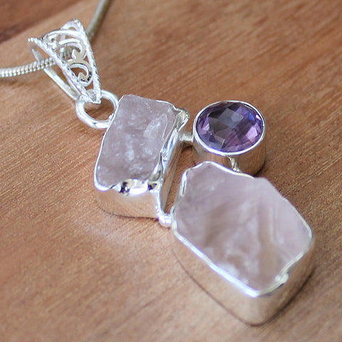 100% 925 Solid Sterling Silver Rough Cut Semi Precious Pink Rose Quartz & Purple Amethyst Pendant - Cherish Me Jewellery - Melbourne Australia