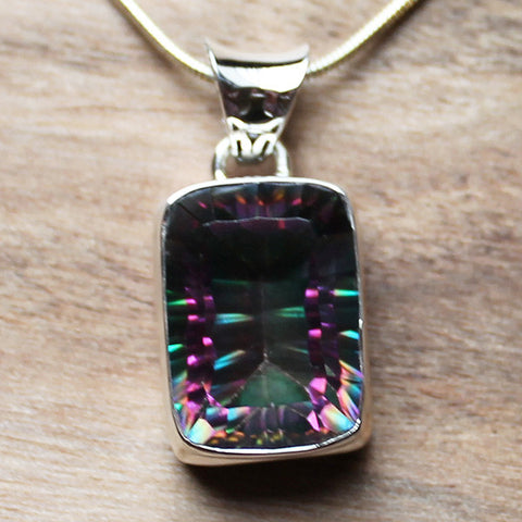 100% 925 Solid Sterling Silver Semi-Precious Mystic Topaz Rectangle Natural Stone Pendant - Cherish Me Jewellery - Melbourne Australia