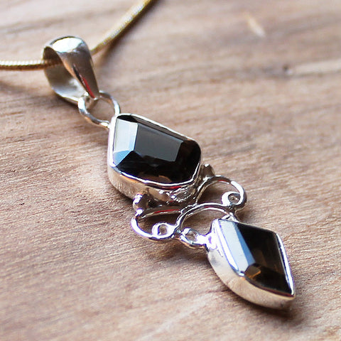 100% 925 Solid Sterling Silver Semi-Precious Black Smokey Quartz Natural Stone Pendant - Cherish Me Jewellery - Melbourne Australia