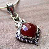100% 925 Solid Sterling Silver Semi-Precious Red Onyx Natural Stone Pendant - Cherish Me Jewellery - Melbourne Australia
