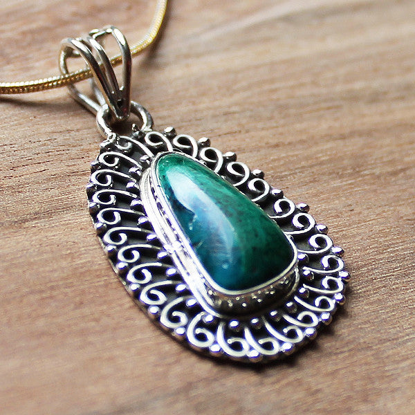 100% 925 Solid Sterling Silver Semi-Precious Green-Blue Chrysocolla Natural Rectangle Stone Pendant - Cherish Me Jewellery - Melbourne Australia