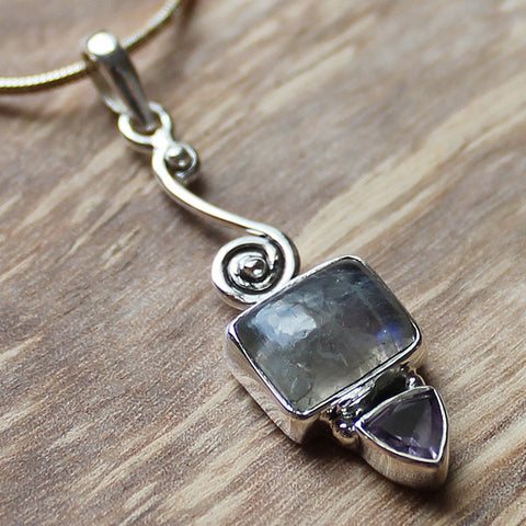 100% 925 Solid Sterling Silver Semi-Precious Rainbow Moonstone and Amethyst Natural Stone Pendant - Cherish Me Jewellery - Melbourne Australia