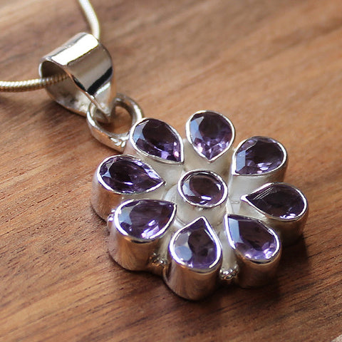 100% 925 Solid Sterling Silver Semi-Precious Purple Amethyst Natural Stone Flower Design Pendant - Cherish Me Jewellery - Melbourne Australia