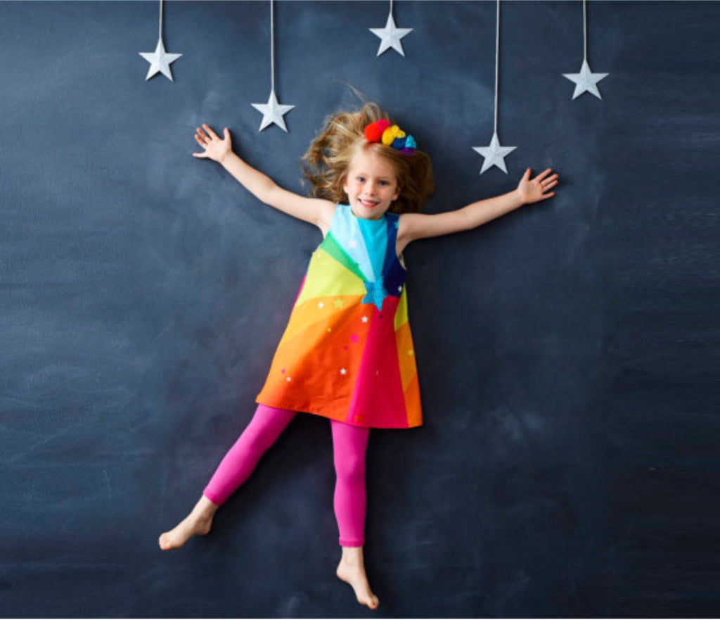 Girls rainbow starburst A- line dress
