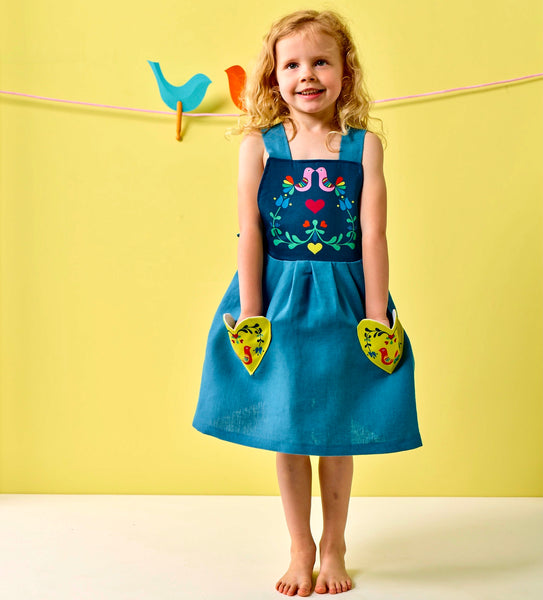 Love birds linen pinafore dress