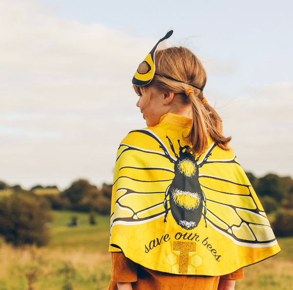 Bee Wings Cape and mask with bee wildflower seeds. 3-9yrs