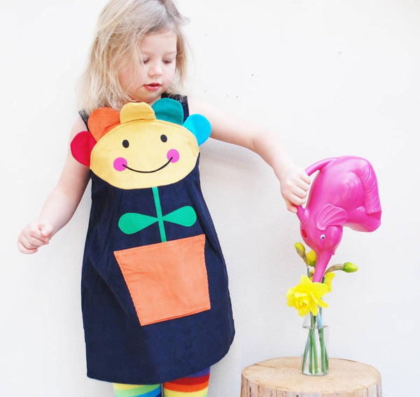 Happy Flower Face Girls Rainbow Pinnie Dress in Corduroy