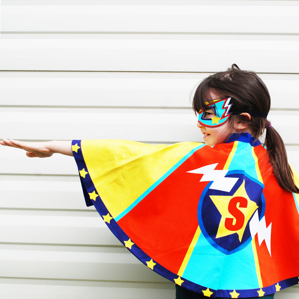 Superhero  Superheroine Cape and mask set Personalised