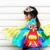 Tropical bird rainbow cape and mask set