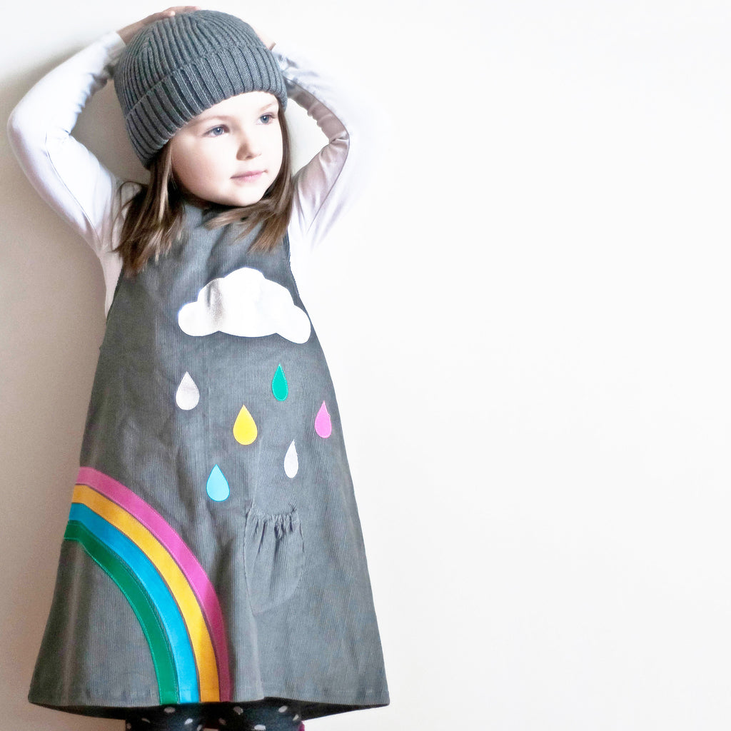 Rainbow applique cord pinafore